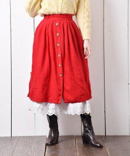 古着ヨーロッパ製 チロルスカート レッド 古着のネット通販 古着屋グレープフルーツムーン