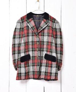 古着ヨーロッパ製 チェック柄 ツイードジャケット 古着のネット通販 古着屋グレープフルーツムーン