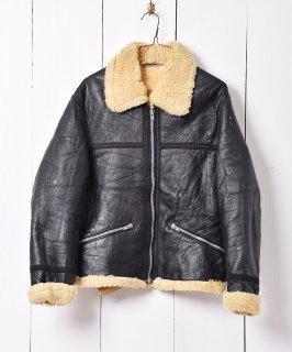 古着フランス製 ムートンジャケット ブラック エクレールジップ 古着のネット通販 古着屋グレープフルーツムーン