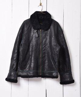 古着ブラックカラームートンジャケット パイピングデザイン 古着のネット通販 古着屋グレープフルーツムーン