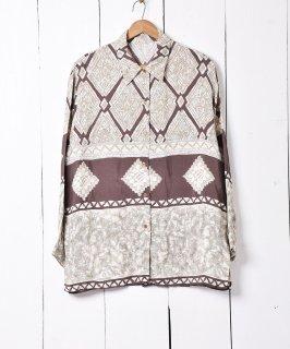 古着イタリア製 総柄シャツ ブラウン 古着のネット通販 古着屋グレープフルーツムーン