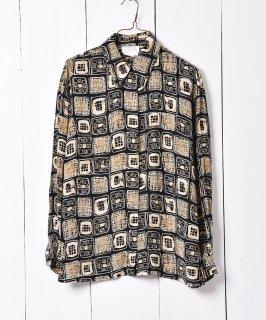 古着総柄 シルクシャツ ブラック×イエロー 古着のネット通販 古着屋グレープフルーツムーン