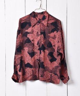 古着総柄 フライフロントシャツ ブラウン 古着のネット通販 古着屋グレープフルーツムーン