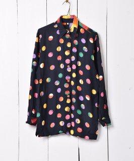 古着マルチカラー 総柄 ドットシャツ 古着のネット通販 古着屋グレープフルーツムーン