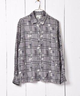 古着総柄シャツ シェルボタン グレー 古着のネット通販 古着屋グレープフルーツムーン