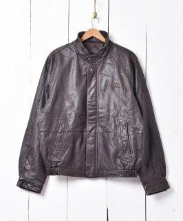 古着「Coca-Cola」ロゴ入り レザージャケット ブルゾンタイプ 古着のネット通販 古着屋グレープフルーツムーン