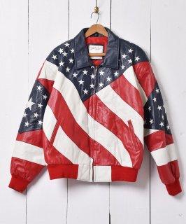 古着アメリカ国旗デザイン レザージャケット ブルゾン 古着のネット通販 古着屋グレープフルーツムーン