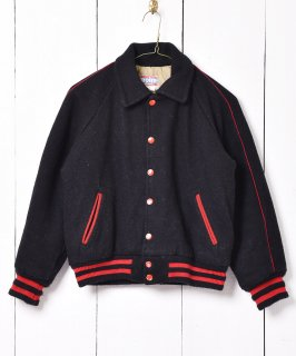 古着アメリカ製 バック刺繍入り メルトン スタジャン ブラック 古着のネット通販 古着屋グレープフルーツムーン