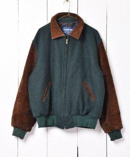 古着アメリカ製 スエード切り替え メルトン スタジャン グリーン 古着のネット通販 古着屋グレープフルーツムーン