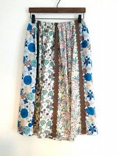 リバティの6枚接ぎスカート(寒色系)
