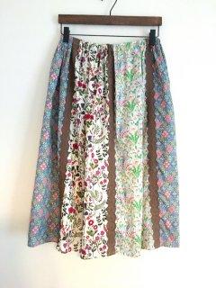 リバティの6枚接ぎスカート(暖色系)