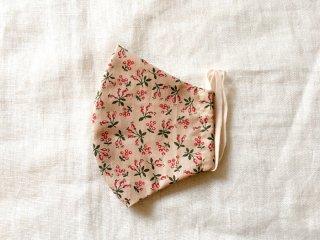 布マスク23 くすみピンクに小さな実の柄