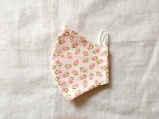 布マスク26 薄いピンク地にレトロな花柄