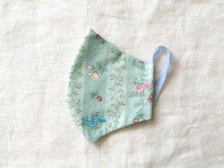 布マスク41 水色の花ストライプ