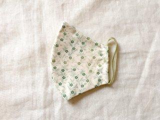 布マスク54 アイボリー地にグリーンの小花