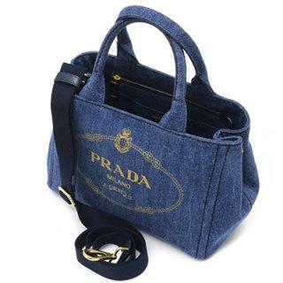 PRADA プラダ 1BG439 AJ6 F0008 CANAPA カナパ DENIM BLUE デニムブルー トートバッグ ゴールドロゴプリント