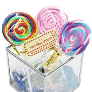 ペロペロイレーサー うずまきキャンディ型消しゴム 3色セット ピンク 紫 レインボー