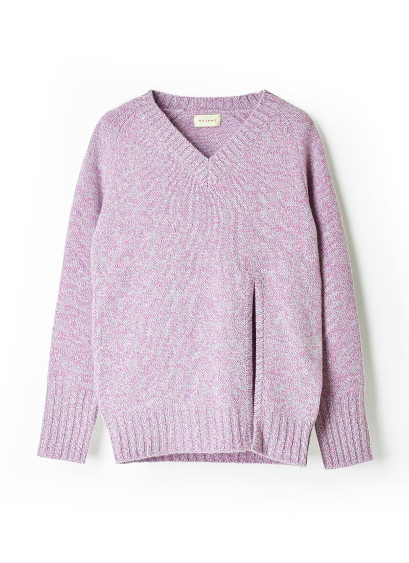 MEYAME V-Neck Heather Knit