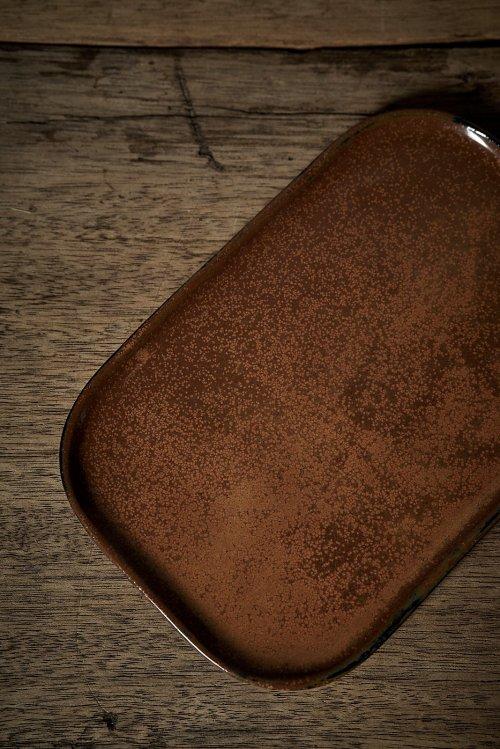PLATE RECTANGULAR MERCI N°2 OCRE/BROWN
