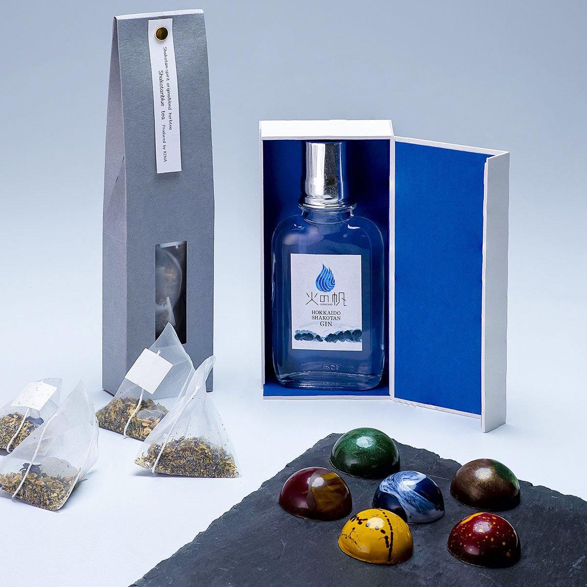 青い海と森の香り「積丹ブルーティー」セット<化粧箱入り100ml・1本+積丹ブルーティー1袋+ボタニカル・チョコレート1箱>セット
