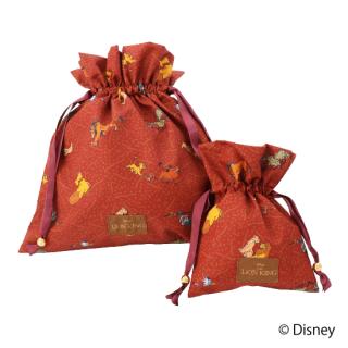 限定生産品 Disney ディズニー 『ライオン・キング』デザイン 巾着 大小2枚組 婦人用 レディース 数量限定