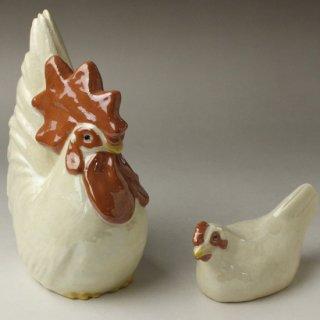 双鶏置物 六代 清水六兵衛 造
