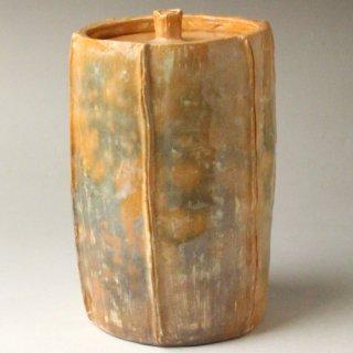 赤楽梔子(くちなし)形細水指 初代 井上方竹造
