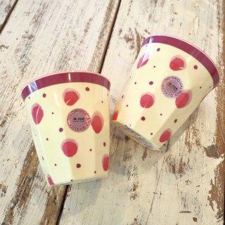 ピンク水玉メラミンカップ