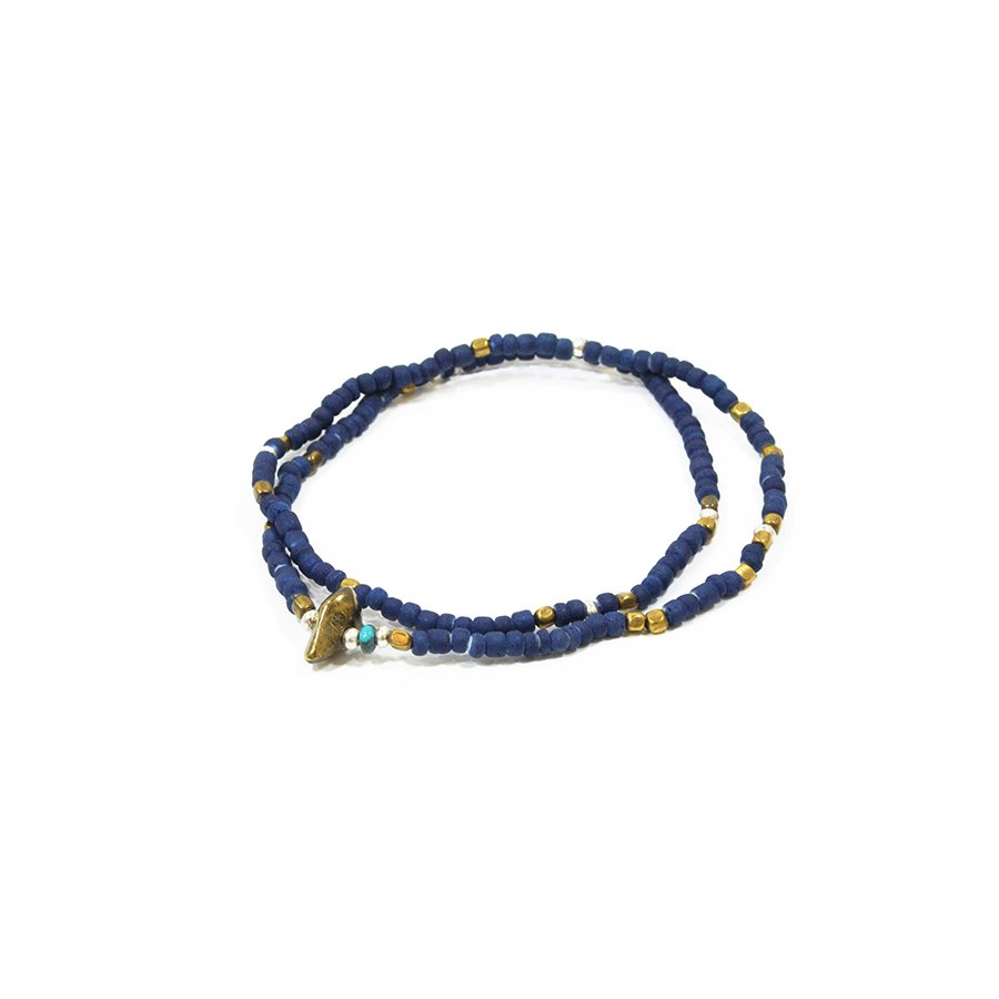 Sunku SK-025 Indigo Dye Beads Anklet & Necklace