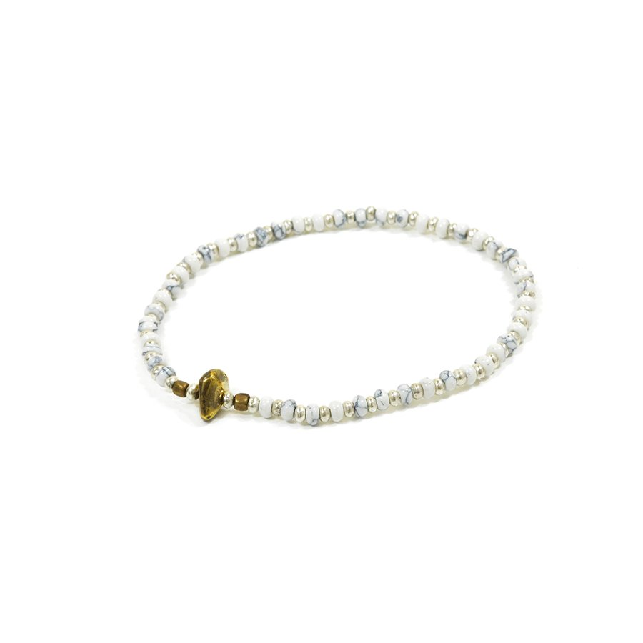 Sunku SK-187 HWL Silver x Beads Anklet