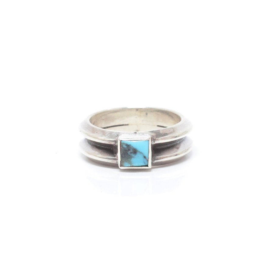 Sunku SK-244 W triangle turquoise ring