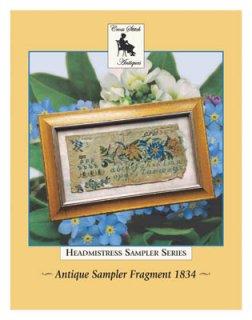 ANTIQUE SAMPLER FRAGMENT 1834