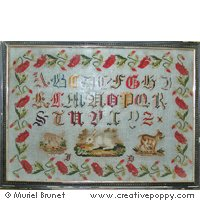 ANTIQUE SAMPLER WITH POPPIES