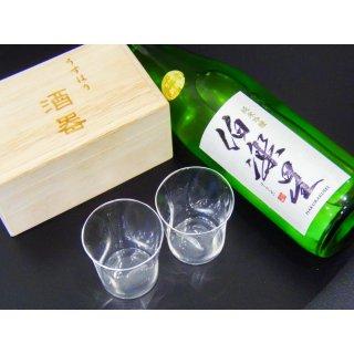日本酒とグラスのギフトセット (伯楽星 純米吟醸 720ml + うすはり SHIWA 五勺盃 ペア 木箱入り)