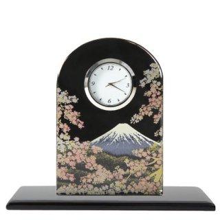3-1 蒔絵ガラス置き時計 富士に桜