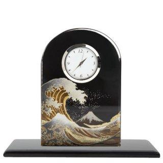 蒔絵ガラス置き時計 浪裏