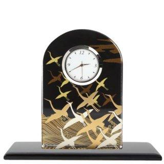 蒔絵ガラス置き時計 波に鶴