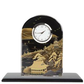 3-4 蒔絵ガラス置き時計 山水