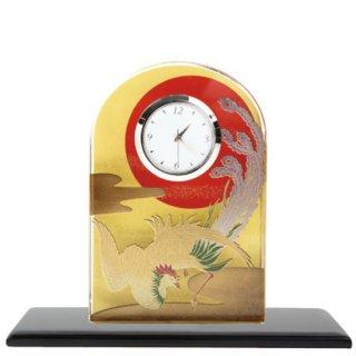 3-5 蒔絵ガラス置き時計 鳳凰