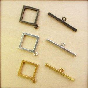 マンテル スクエア11mm 真鍮古美/銀かぶり/古代金 1セット
