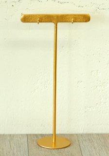 ディスプレイ什器: アクセサリースタンド フック付きTバー(M) ゴールド