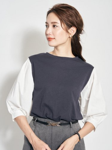 【30%OFF】切り替えシャツカットソー
