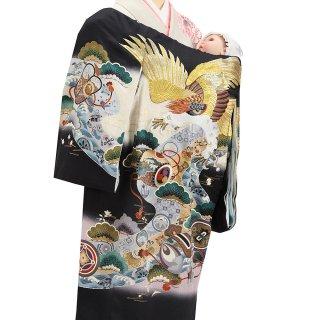 男の子レンタル産着 B55 正絹黒地 刺繍鷹 小槌