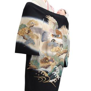【高級】男の子レンタル産着 B105 高級正絹黒地 刺繍鷹 松 波