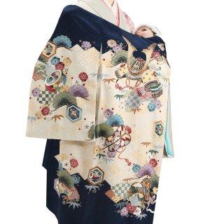 【高級】男の子レンタル産着 B117 高級正絹濃紺地 菱地紋 兜