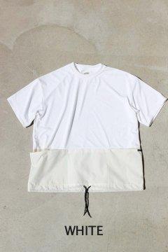 ハリウッドランチマーケット/ポリコットンナイロン スイッチングボトムコードTシャツ WHT,BEG