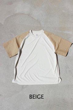 ハリウッドランチマーケット/ポリコットンナイロンスイッチング ラグランスリーブ Tシャツ BEG,BLK