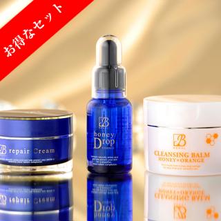 贅沢3点セット(BEAUL honey Drop + BEAUL repair Cream + BEAUL Cleansing Balm)