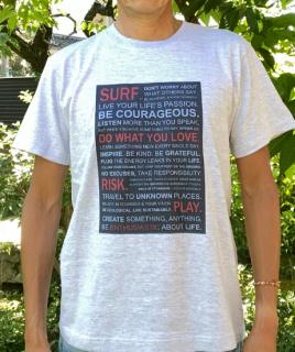 【エコ@えこ】オリジナルTシャツ(メンズ) サーファーへの【提言】アッシュ<br> Tシャツ販売開始記念、特別価格設定中! (全国どこでも送料無料)<img class='new_mark_img2' src='https://img.shop-pro.jp/img/new/icons61.gif' style='border:none;display:inline;margin:0px;padding:0px;width:auto;' />