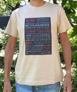 【エコ@えこ】オリジナルTシャツ(メンズ) サーファーへの【提言】ライトベージュ<br> Tシャツ販売開始記念、特別価格設定中! (全国どこでも送料無料)<img class='new_mark_img2' src='https://img.shop-pro.jp/img/new/icons61.gif' style='border:none;display:inline;margin:0px;padding:0px;width:auto;' />